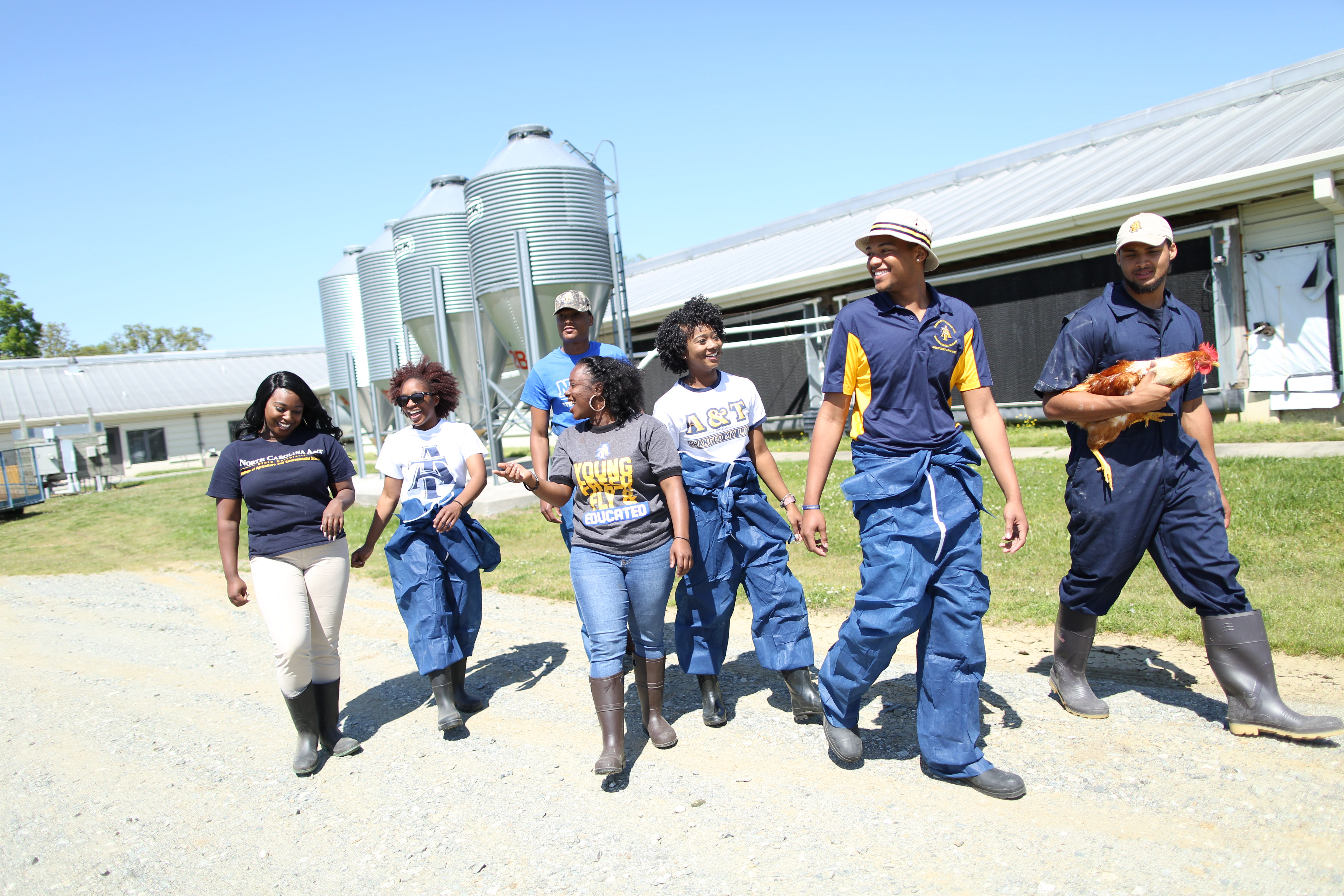 students on A and T research farm