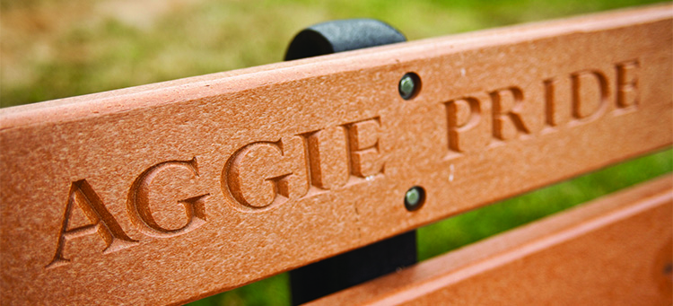"This is a photo of the on-campus ""Aggie Pride"" bench."