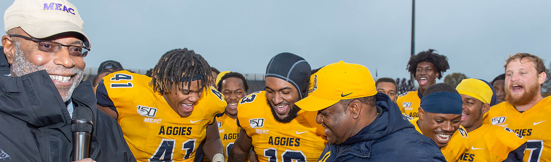 A&T Football team celebrating