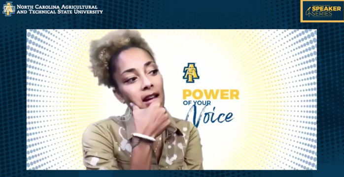 Amanda Seales speaking during virtual speaker series