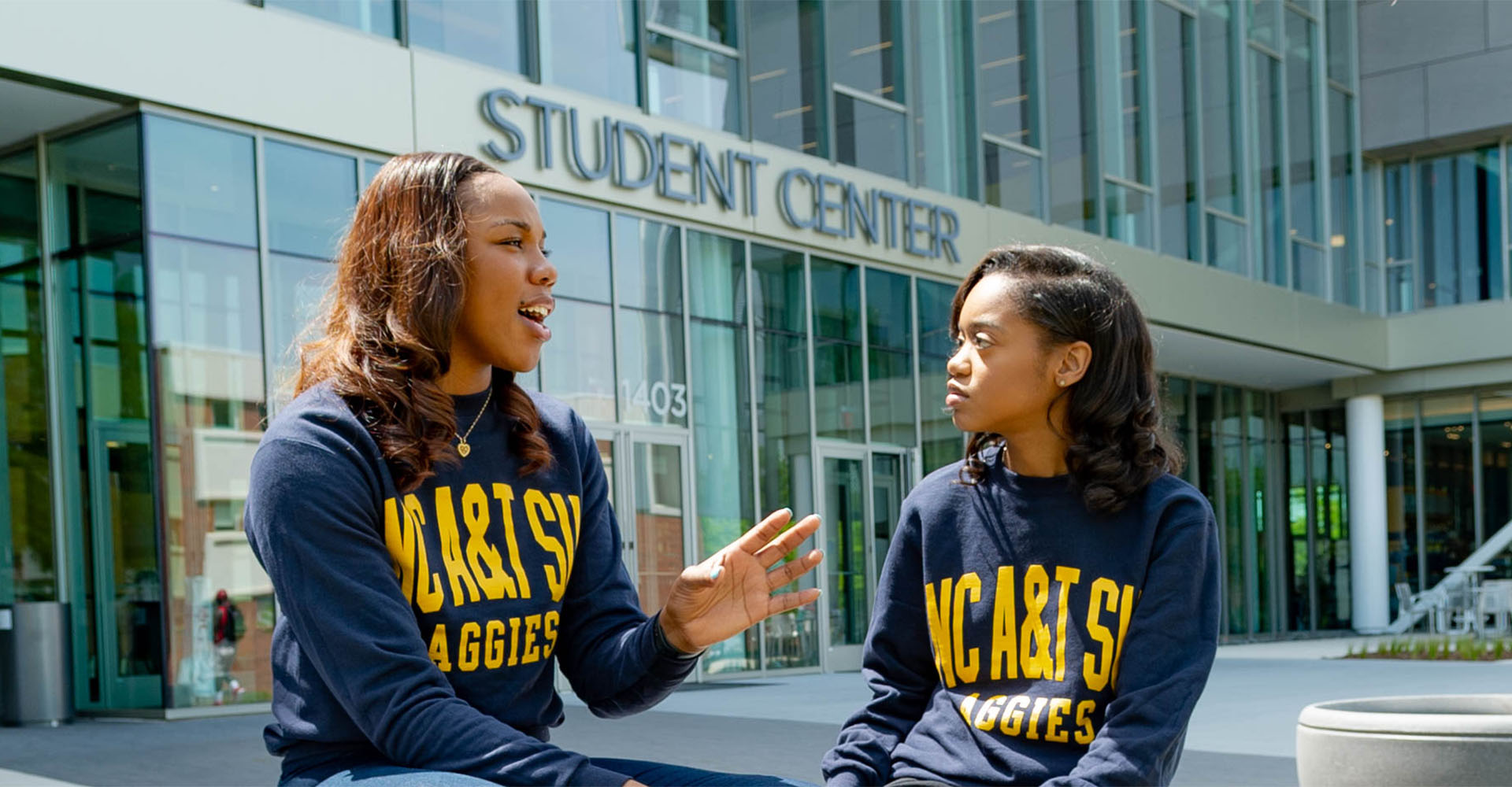 Students in front of Student Center