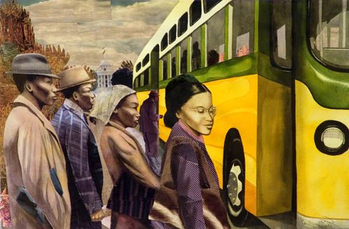 This is a photo of artist Bryan Collier's work on Rosa Parks.